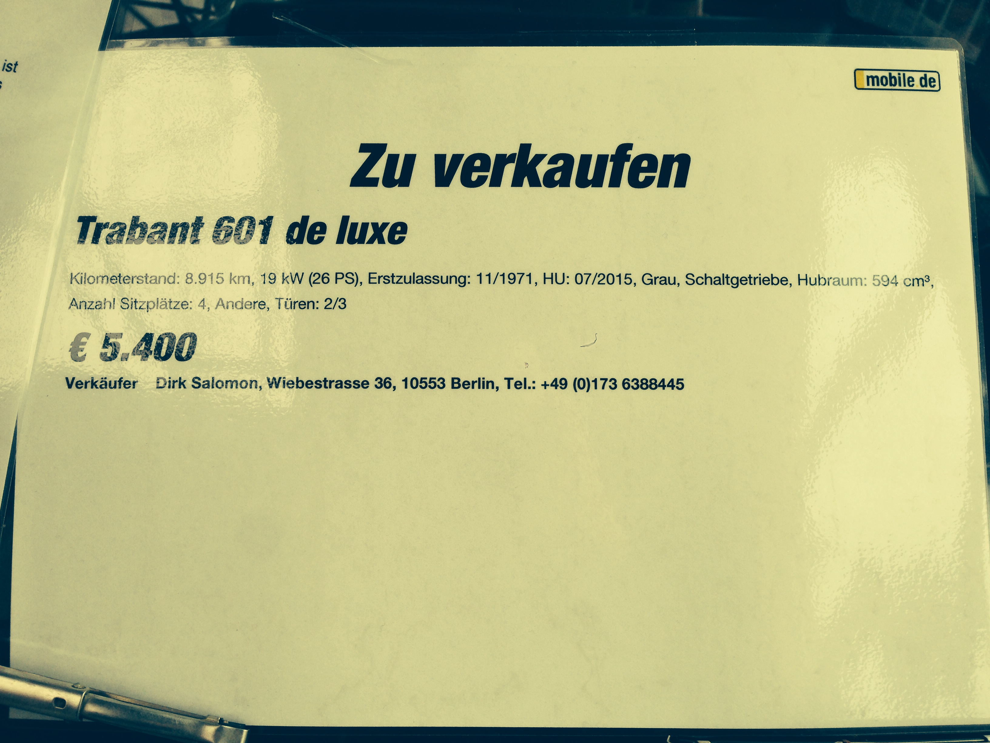 Trabant Preisschild in Classic Remise Berlin